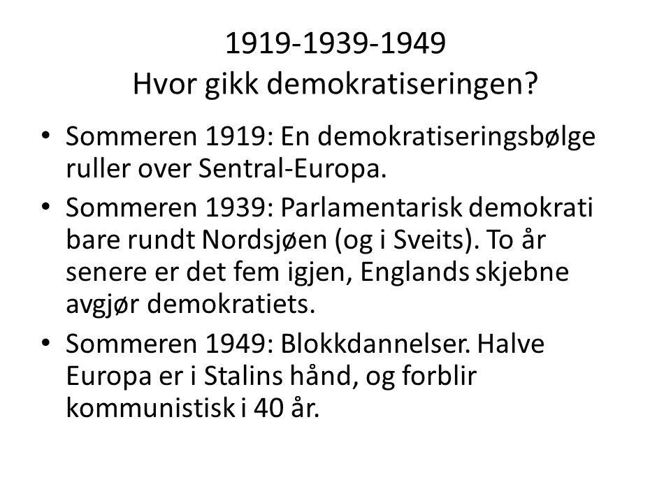 1919-1939-1949 Hvor gikk demokratiseringen? • Sommeren 1919: En demokratiseringsbølge ruller over Sentral-Europa. • Sommeren 1939: Parlamentarisk demo