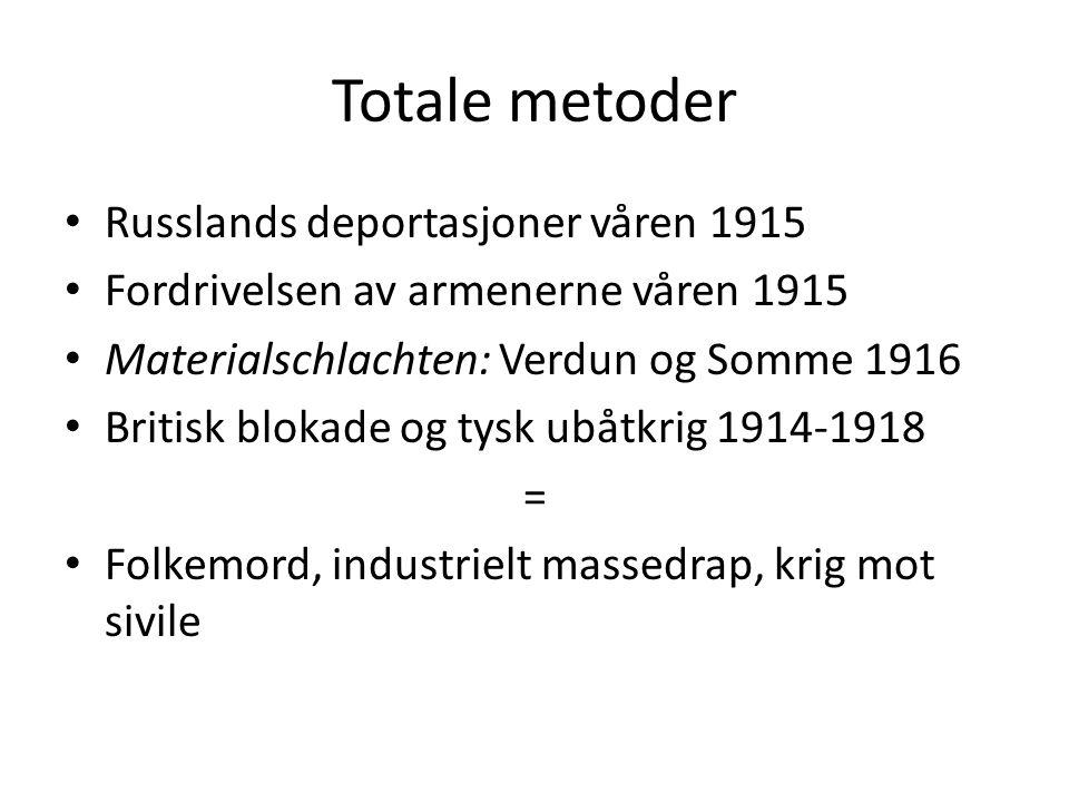 Totale metoder • Russlands deportasjoner våren 1915 • Fordrivelsen av armenerne våren 1915 • Materialschlachten: Verdun og Somme 1916 • Britisk blokad
