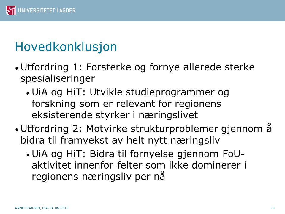 ARNE ISAKSEN, UiA, 04.06.201311 Hovedkonklusjon • Utfordring 1: Forsterke og fornye allerede sterke spesialiseringer • UiA og HiT: Utvikle studieprogr
