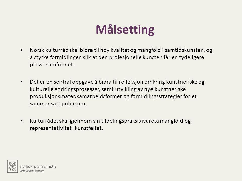 Målsetting • Norsk kulturråd skal bidra til høy kvalitet og mangfold i samtidskunsten, og å styrke formidlingen slik at den profesjonelle kunsten får en tydeligere plass i samfunnet.
