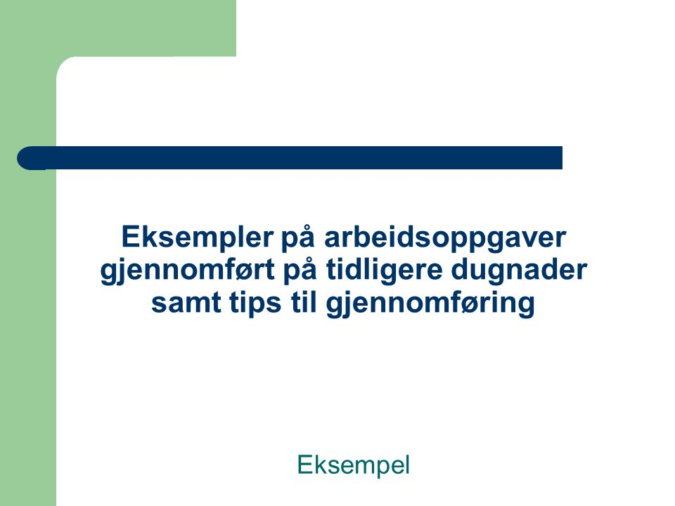 Eksempler på arbeidsoppgaver gjennomført på tidligere dugnader samt tips til gjennomføring Eksempel