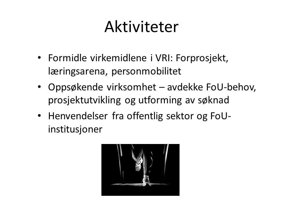 Aktiviteter • Formidle virkemidlene i VRI: Forprosjekt, læringsarena, personmobilitet • Oppsøkende virksomhet – avdekke FoU-behov, prosjektutvikling o
