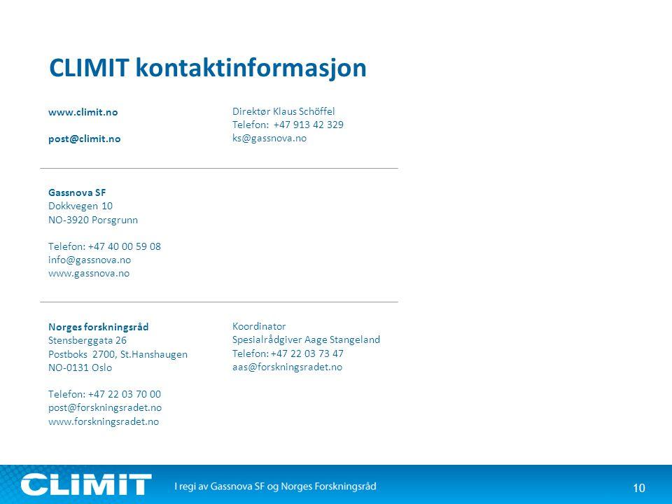 10 CLIMIT kontaktinformasjon www.climit.no post@climit.no Gassnova SF Dokkvegen 10 NO-3920 Porsgrunn Telefon: +47 40 00 59 08 info@gassnova.no www.gas
