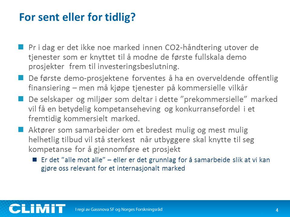 For sent eller for tidlig?  Pr i dag er det ikke noe marked innen CO2-håndtering utover de tjenester som er knyttet til å modne de første fullskala d