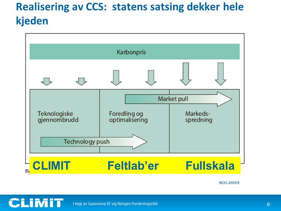 Realisering av CCS: statens satsing dekker hele kjeden 6 NOU-2009\9 CLIMIT Feltlab'er Fullskala