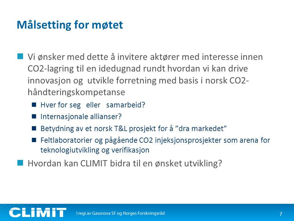 Målsetting for møtet  Vi ønsker med dette å invitere aktører med interesse innen CO2-lagring til en idedugnad rundt hvordan vi kan drive innovasjon og utvikle forretning med basis i norsk CO2- håndteringskompetanse  Hver for seg eller samarbeid.