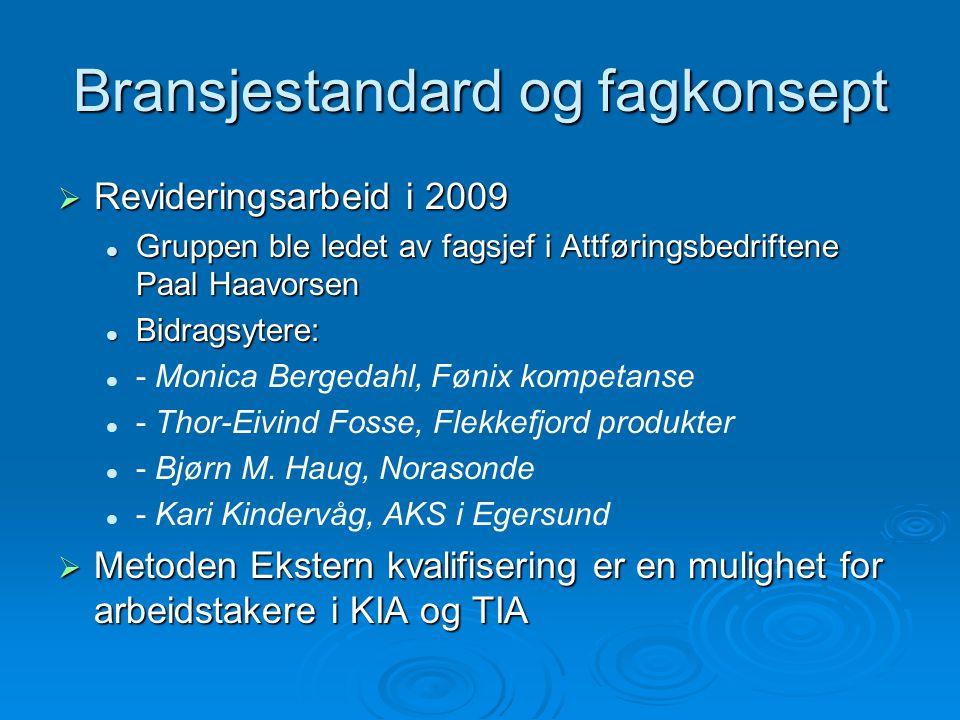 Bransjestandard og fagkonsept  Revideringsarbeid i 2009  Gruppen ble ledet av fagsjef i Attføringsbedriftene Paal Haavorsen  Bidragsytere:   - Monica Bergedahl, Fønix kompetanse   - Thor-Eivind Fosse, Flekkefjord produkter   - Bjørn M.