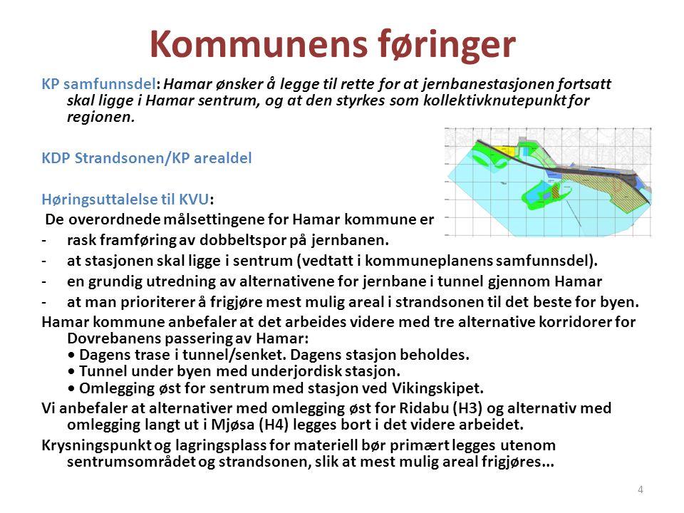 Kommunens føringer KP samfunnsdel: Hamar ønsker å legge til rette for at jernbanestasjonen fortsatt skal ligge i Hamar sentrum, og at den styrkes som