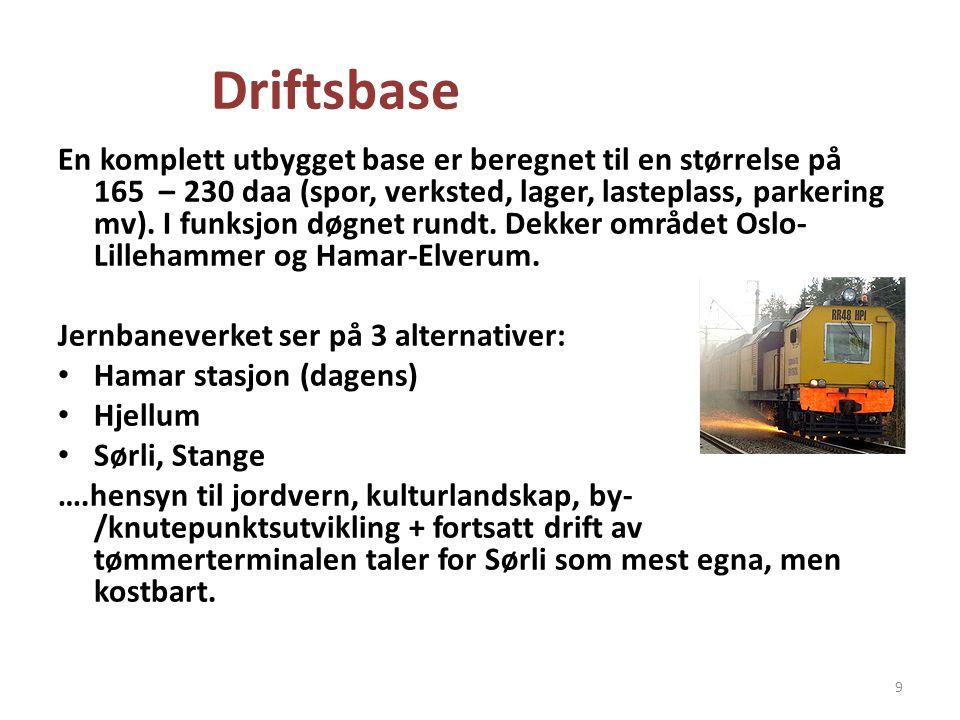 Driftsbase En komplett utbygget base er beregnet til en størrelse på 165 – 230 daa (spor, verksted, lager, lasteplass, parkering mv). I funksjon døgne