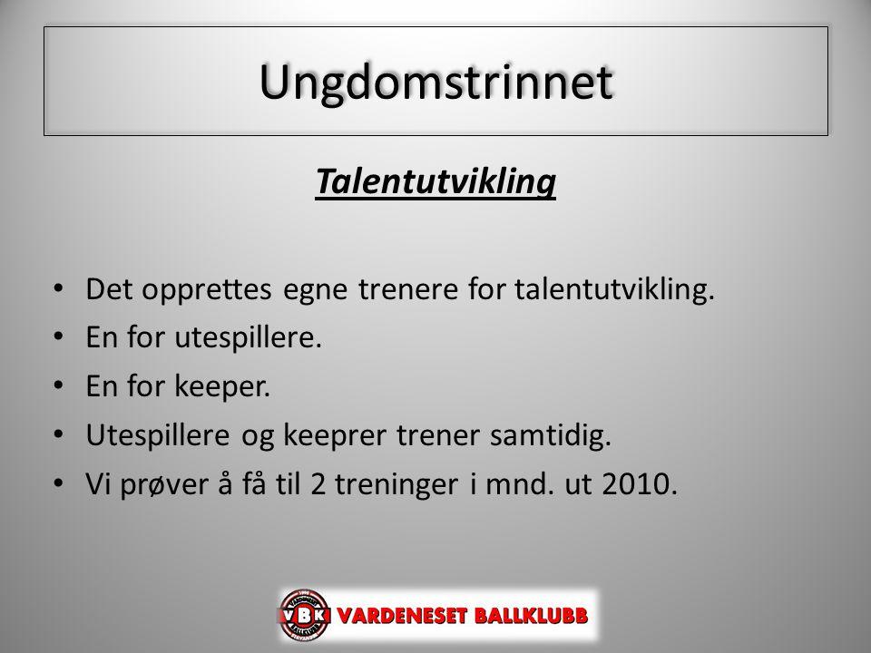 Ungdomstrinnet Talentutvikling • Det opprettes egne trenere for talentutvikling. • En for utespillere. • En for keeper. • Utespillere og keeprer trene
