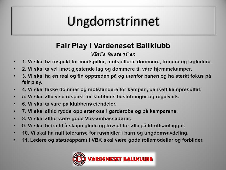 Fair Play i Vardeneset Ballklubb VBK`s første 11`er. •1. Vi skal ha respekt for medspiller, motspillere, dommere, trenere og lagledere. •2. Vi skal ta