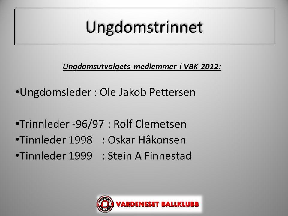 Ungdomstrinnet Ungdomsutvalgets medlemmer i VBK 2012: • Ungdomsleder : Ole Jakob Pettersen • Trinnleder -96/97 : Rolf Clemetsen • Tinnleder 1998: Oska
