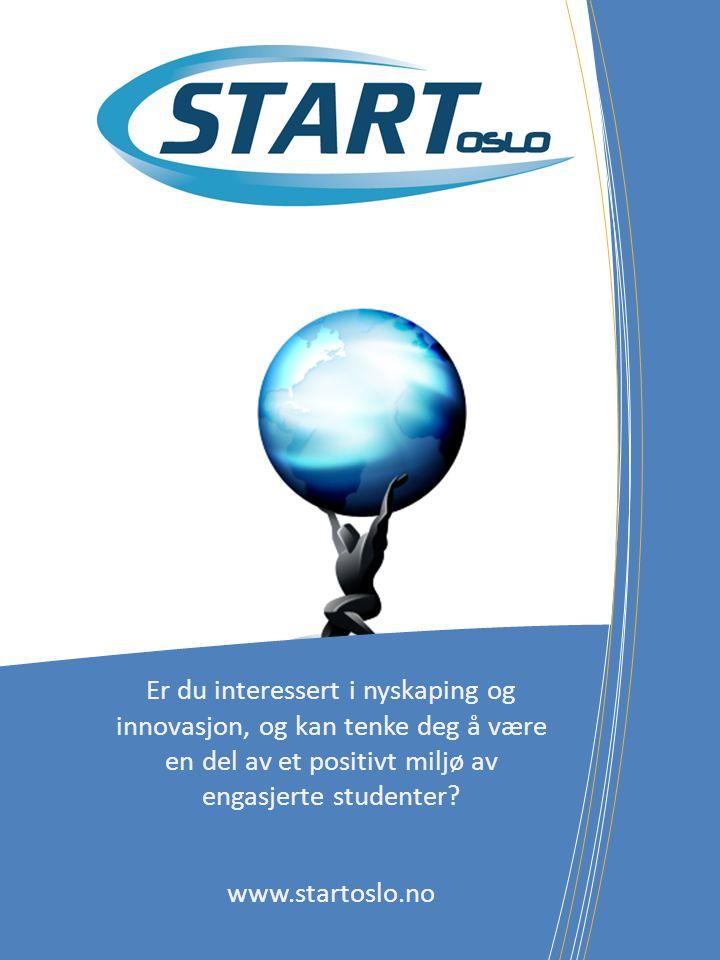 Er du interessert i nyskaping og innovasjon, og kan tenke deg å være en del av et positivt miljø av engasjerte studenter? www.startoslo.no
