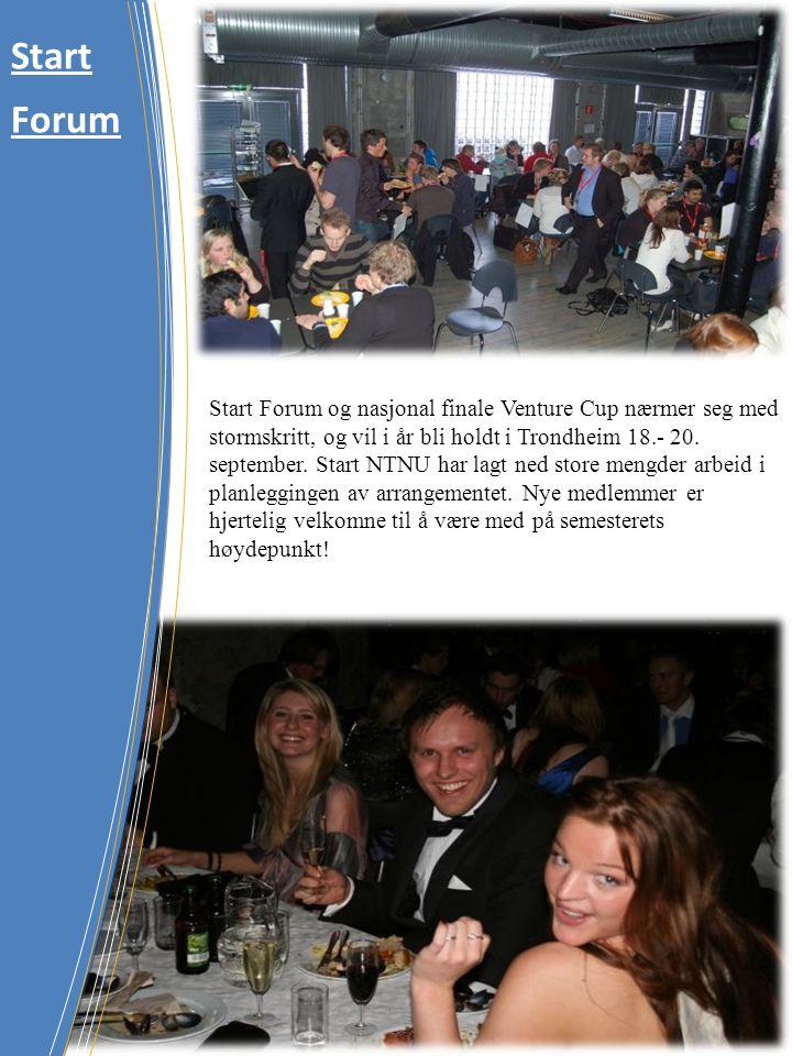 Start Forum og nasjonal finale Venture Cup nærmer seg med stormskritt, og vil i år bli holdt i Trondheim 18.- 20. september. Start NTNU har lagt ned s