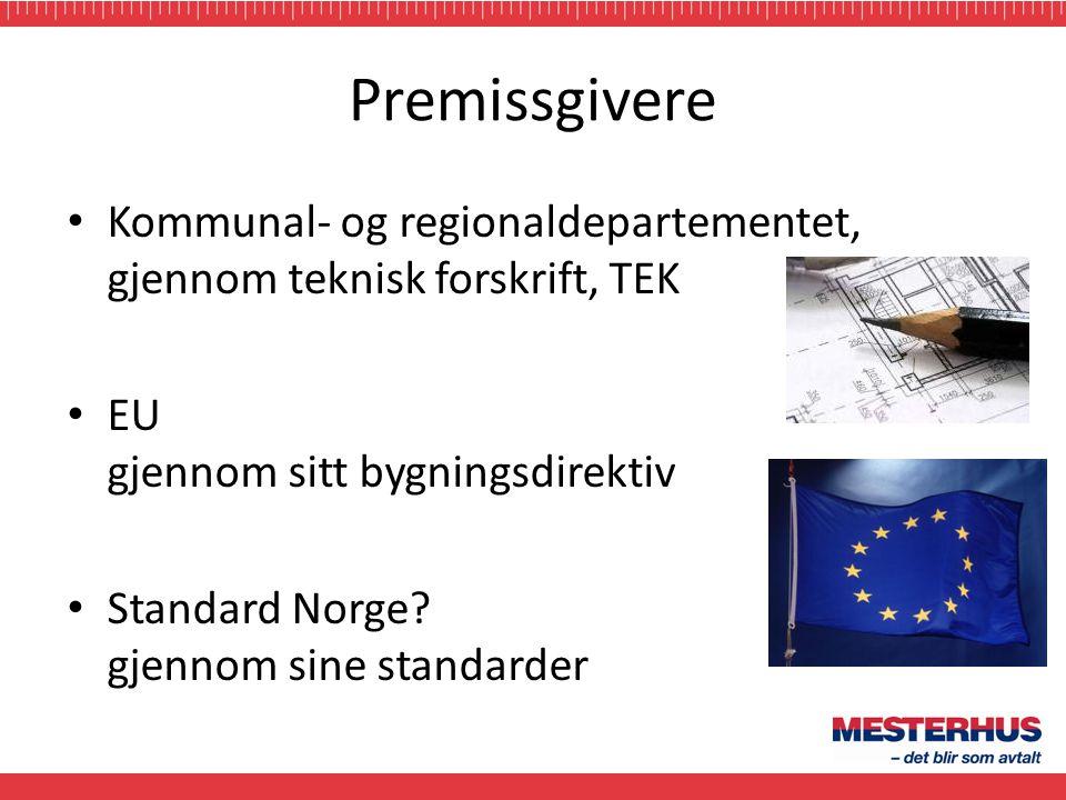 Premissgivere • Kommunal- og regionaldepartementet, gjennom teknisk forskrift, TEK • EU gjennom sitt bygningsdirektiv • Standard Norge? gjennom sine s