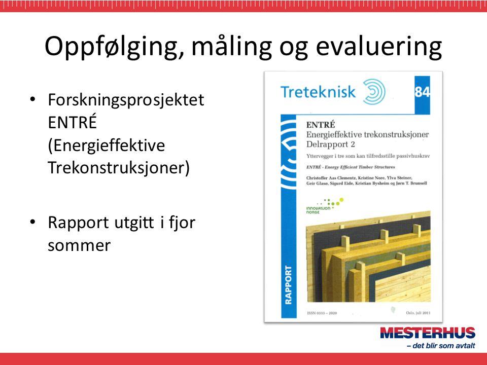 Oppfølging, måling og evaluering • Forskningsprosjektet ENTRÉ (Energieffektive Trekonstruksjoner) • Rapport utgitt i fjor sommer