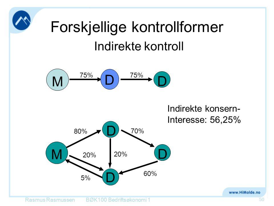 Forskjellige kontrollformer Indirekte kontroll BØK100 Bedriftsøkonomi 1 50 Indirekte konsern- Interesse: 56,25% M DD 75% M D D D 80% 20% 60% 5% 70% D