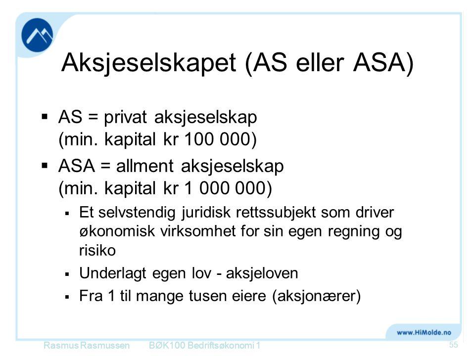 Aksjeselskapet (AS eller ASA)  AS = privat aksjeselskap (min. kapital kr 100 000)  ASA = allment aksjeselskap (min. kapital kr 1 000 000)  Et selvs