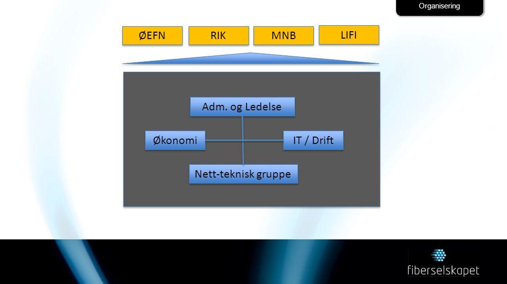 Organisering Adm. og Ledelse IT / Drift Økonomi Nett-teknisk gruppe ØEFN RIK MNB LIFI