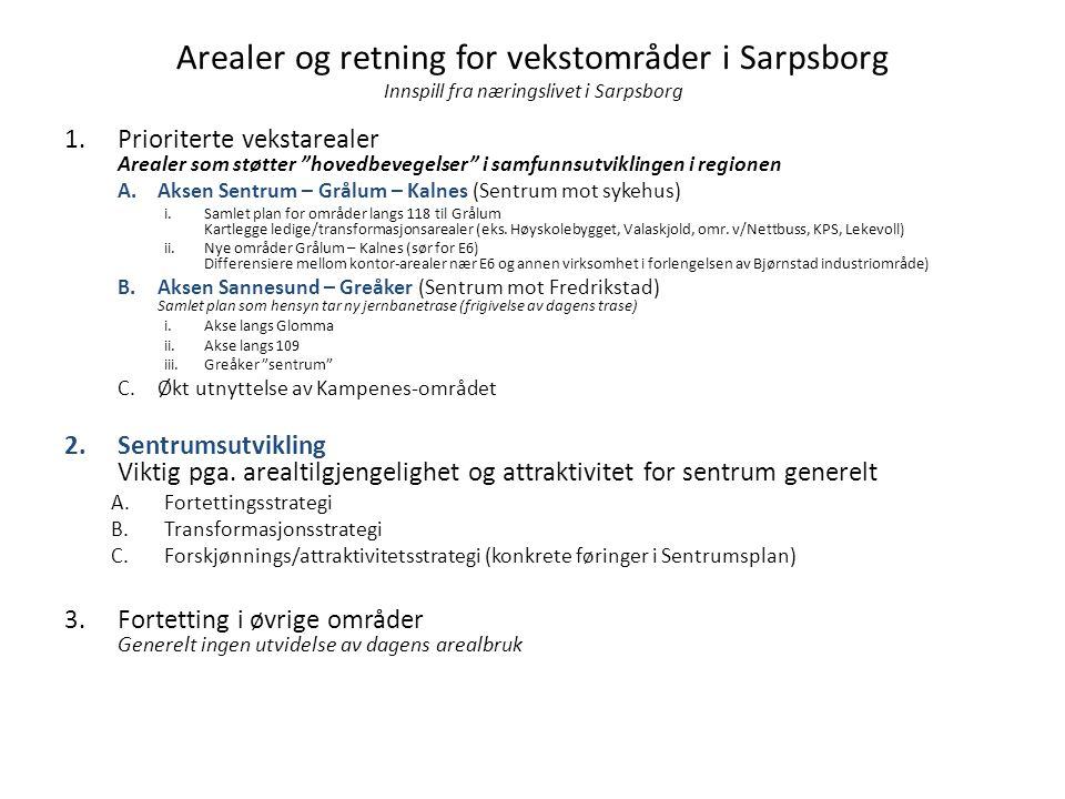 """Arealer og retning for vekstområder i Sarpsborg Innspill fra næringslivet i Sarpsborg 1.Prioriterte vekstarealer Arealer som støtter """"hovedbevegelser"""""""