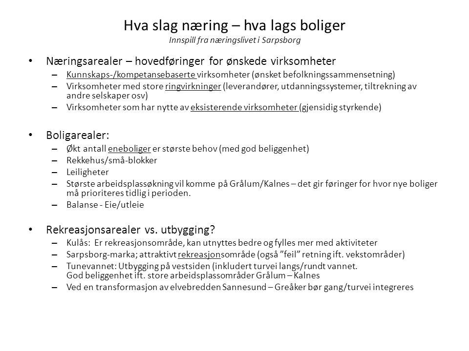 Hva slag næring – hva lags boliger Innspill fra næringslivet i Sarpsborg • Næringsarealer – hovedføringer for ønskede virksomheter – Kunnskaps-/kompet