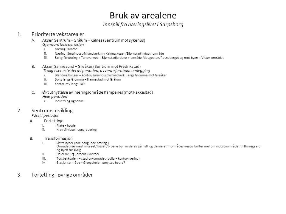 Bruk av arealene Innspill fra næringslivet i Sarpsborg 1.Prioriterte vekstarealer A.Aksen Sentrum – Grålum – Kalnes (Sentrum mot sykehus) Gjennom hele