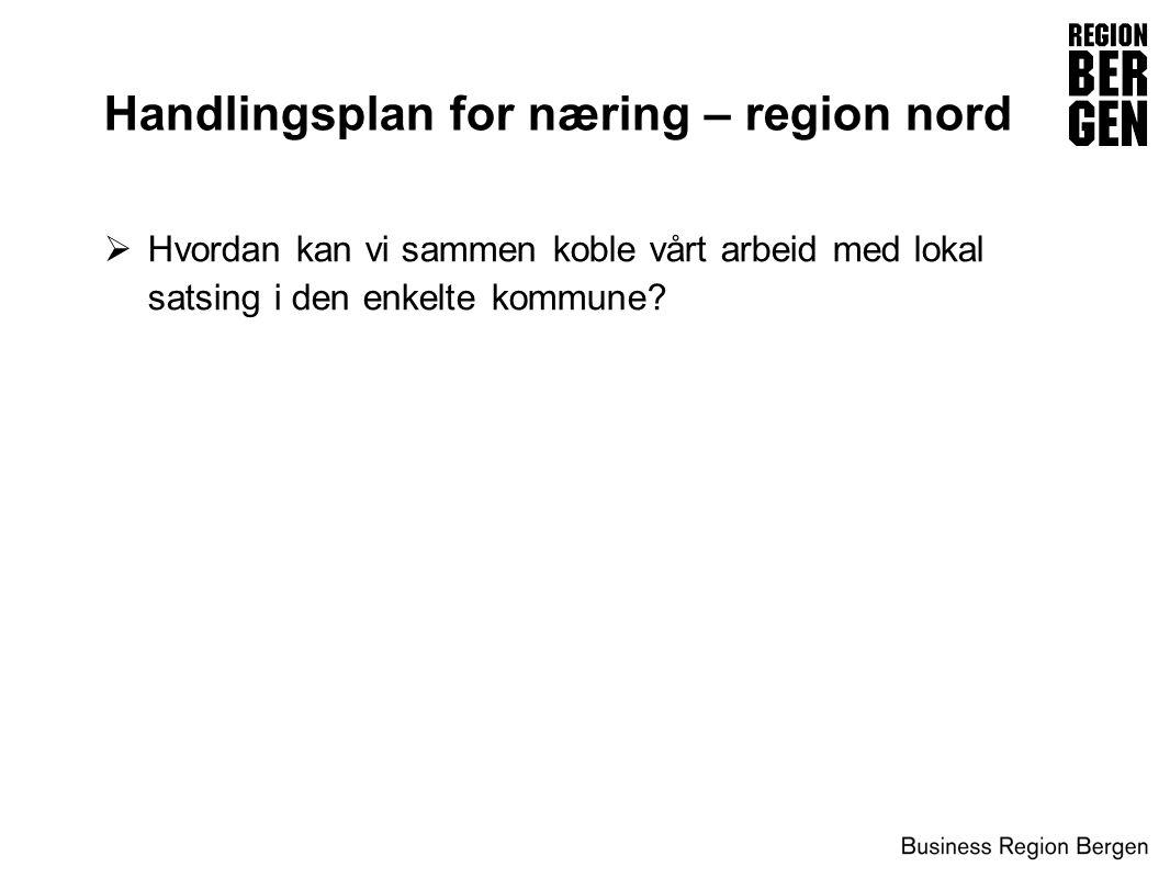  Hvordan kan vi sammen koble vårt arbeid med lokal satsing i den enkelte kommune? Handlingsplan for næring – region nord