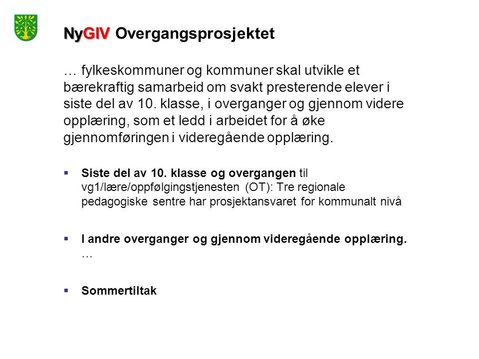 NyGIV NyGIV Overgangsprosjektet … fylkeskommuner og kommuner skal utvikle et bærekraftig samarbeid om svakt presterende elever i siste del av 10.