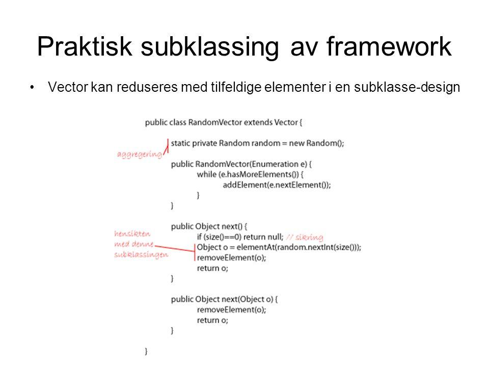 Praktisk subklassing av framework •Vector kan reduseres med tilfeldige elementer i en subklasse-design