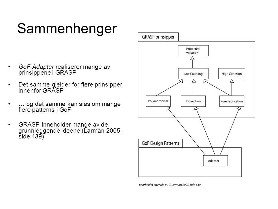 Sammenhenger •GoF Adapter realiserer mange av prinsippene i GRASP •Det samme gjelder for flere prinsipper innenfor GRASP •… og det samme kan sies om m
