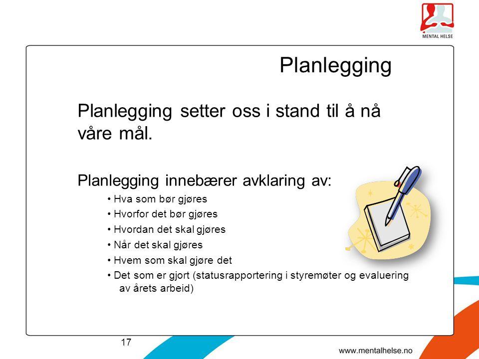 Planlegging Planlegging setter oss i stand til å nå våre mål. Planlegging innebærer avklaring av: • Hva som bør gjøres • Hvorfor det bør gjøres • Hvor