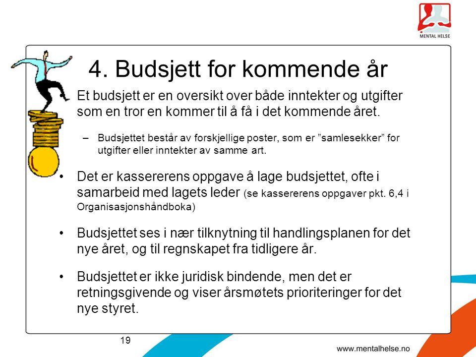 4. Budsjett for kommende år •Et budsjett er en oversikt over både inntekter og utgifter som en tror en kommer til å få i det kommende året. –Budsjette