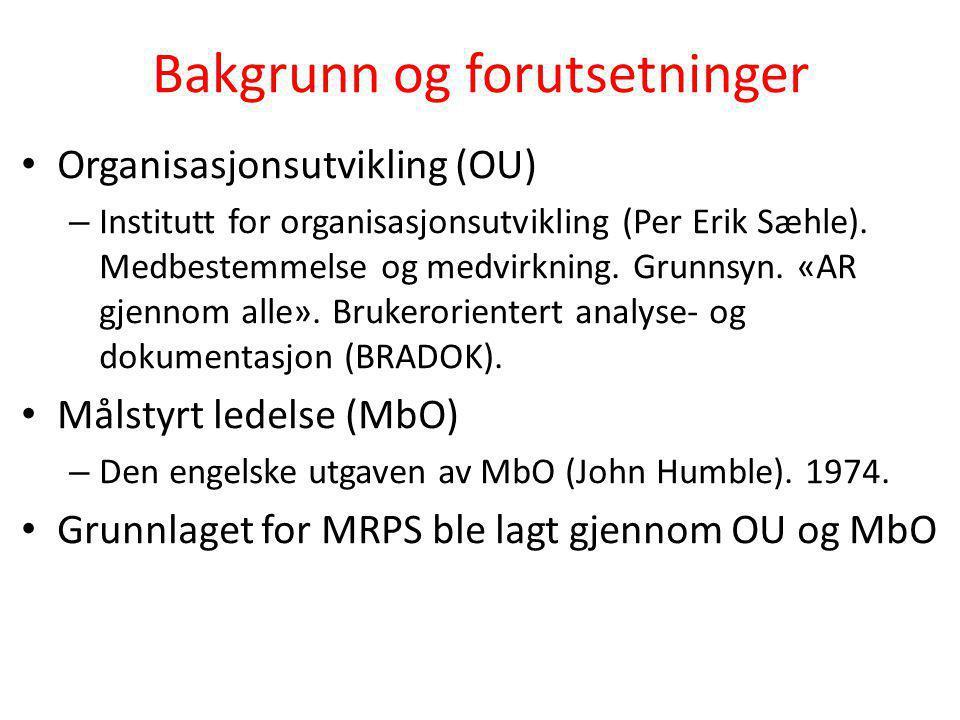 Bakgrunn og forutsetninger • Organisasjonsutvikling (OU) – Institutt for organisasjonsutvikling (Per Erik Sæhle). Medbestemmelse og medvirkning. Grunn