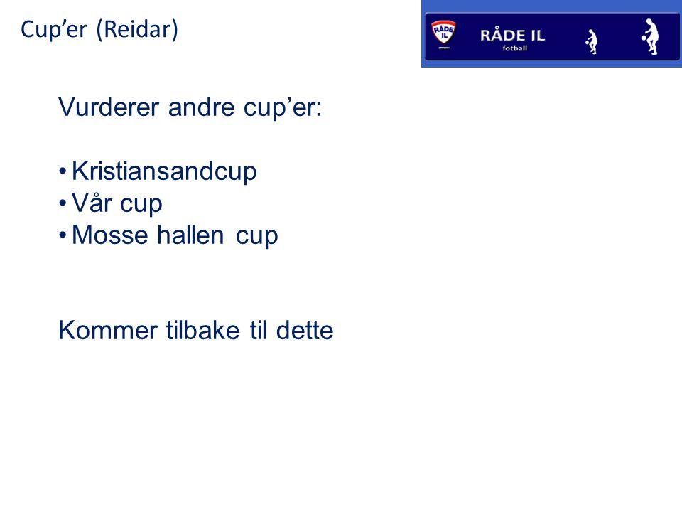 Cup'er (Reidar) Vurderer andre cup'er: •Kristiansandcup •Vår cup •Mosse hallen cup Kommer tilbake til dette