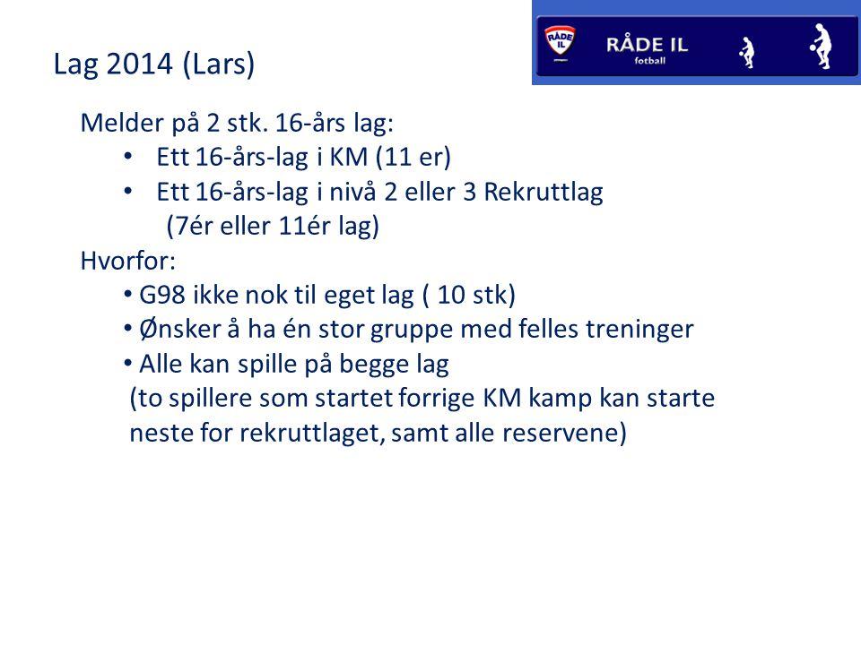 Lag 2014 (Lars) Melder på 2 stk.