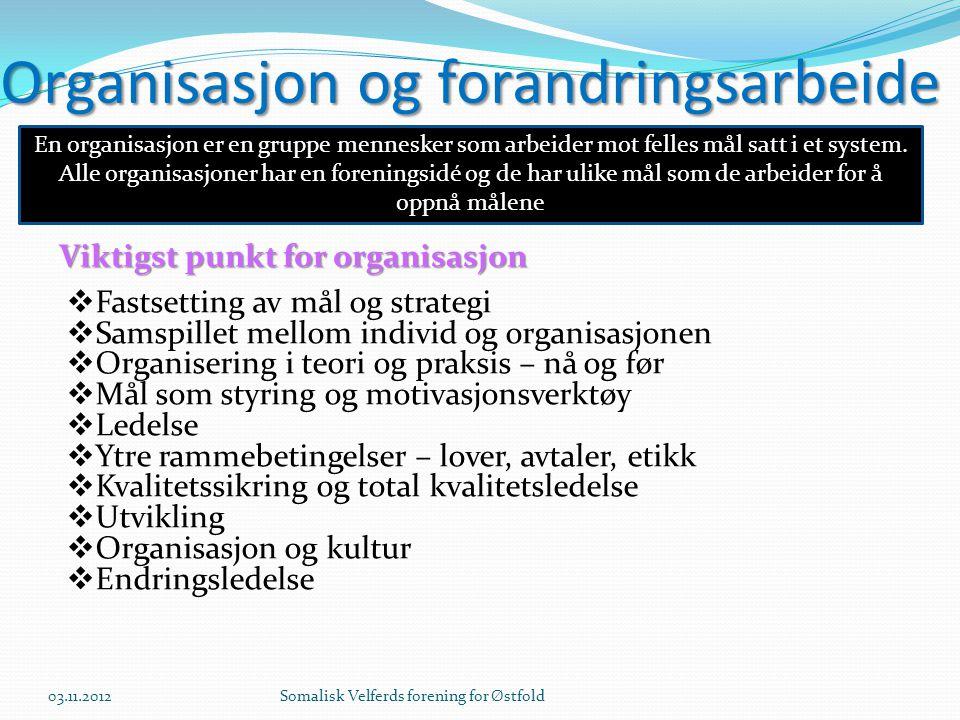 Organisasjon og forandringsarbeide  Fastsetting av mål og strategi  Samspillet mellom individ og organisasjonen  Organisering i teori og praksis –