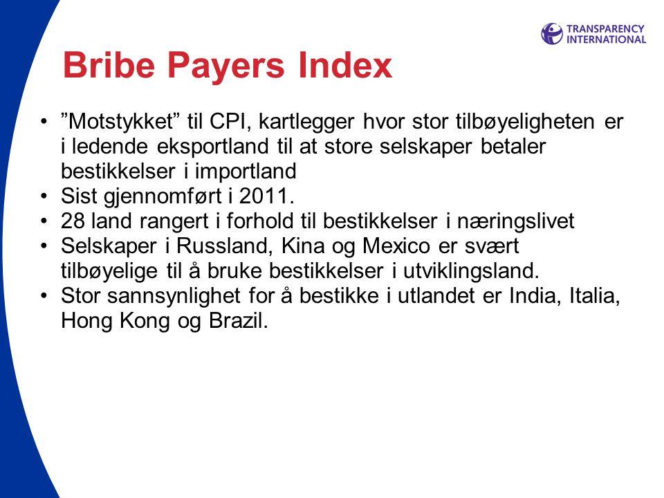 Bribe Payers Index • Motstykket til CPI, kartlegger hvor stor tilbøyeligheten er i ledende eksportland til at store selskaper betaler bestikkelser i importland •Sist gjennomført i 2011.