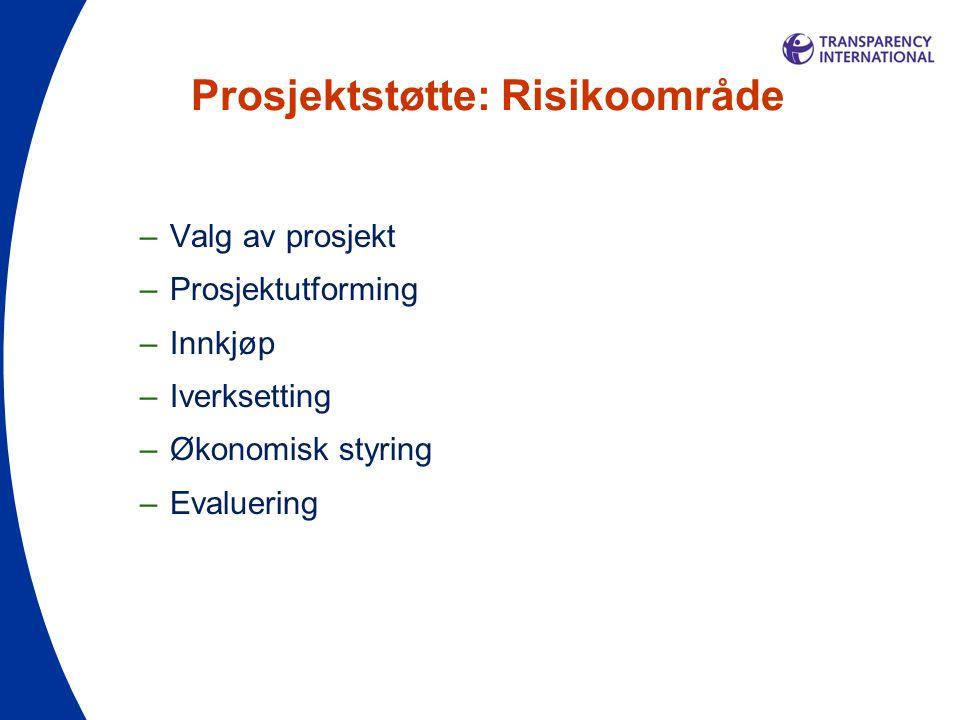 Prosjektstøtte: Risikoområde –Valg av prosjekt –Prosjektutforming –Innkjøp –Iverksetting –Økonomisk styring –Evaluering
