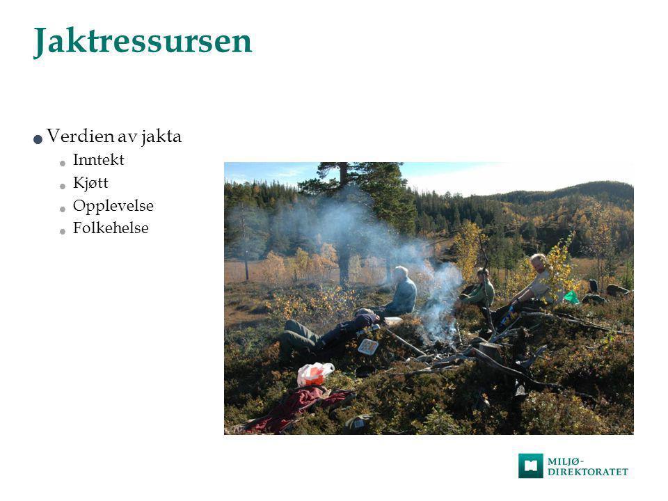 Jaktressursen  Verdien av jakta  Inntekt  Kjøtt  Opplevelse  Folkehelse
