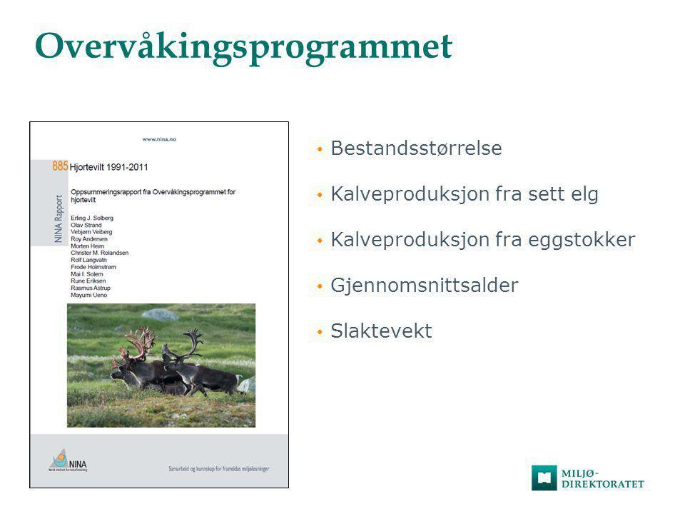 Overvåkingsprogrammet • Bestandsstørrelse • Kalveproduksjon fra sett elg • Kalveproduksjon fra eggstokker • Gjennomsnittsalder • Slaktevekt