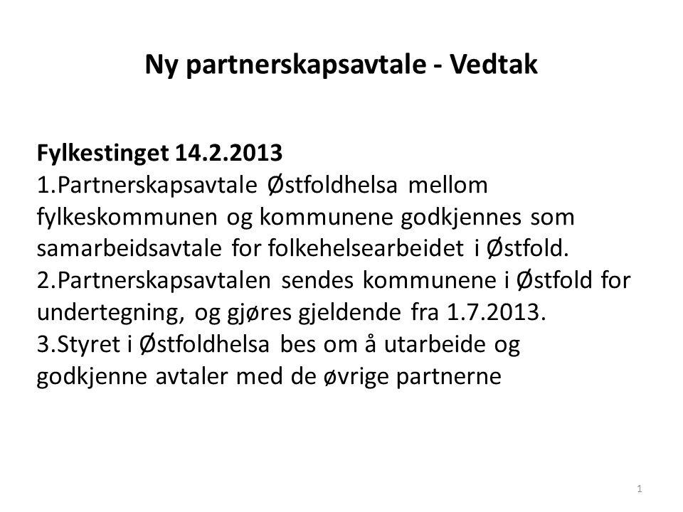 Ny partnerskapsavtale - Vedtak 1 Fylkestinget 14.2.2013 1.Partnerskapsavtale Østfoldhelsa mellom fylkeskommunen og kommunene godkjennes som samarbeidsavtale for folkehelsearbeidet i Østfold.