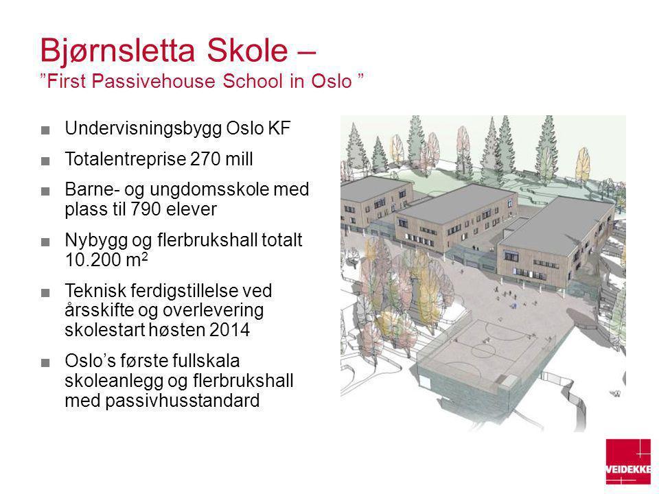"Bjørnsletta Skole – ""First Passivehouse School in Oslo "" ■Undervisningsbygg Oslo KF ■Totalentreprise 270 mill ■Barne- og ungdomsskole med plass til 79"