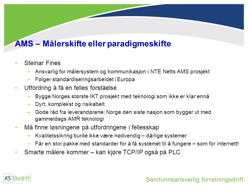AMS – Målerskifte eller paradigmeskifte •Steinar Fines –Ansvarlig for målersystem og kommunikasjon i NTE Netts AMS prosjekt –Følger standardiseringsarbeidet i Europa •Utfordring å få en felles forståelse –Bygge Norges største IKT prosjekt med teknologi som ikke er klar ennå –Dyrt, komplekst og risikabelt –Gode råd fra leverandørene: Norge den siste nasjon som bygger ut med gammeldags AMR teknologi •Må finne løsningene på utfordringene i fellesskap –Kvalitetssikring burde ikke være nødvendig – dårlige systemer –Får en stor pakke med standarder for å få systemet til å fungere – som for internett.