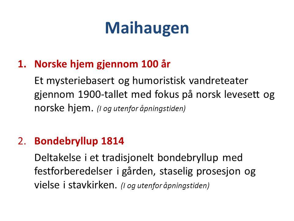 Maihaugen 1.Norske hjem gjennom 100 år Et mysteriebasert og humoristisk vandreteater gjennom 1900-tallet med fokus på norsk levesett og norske hjem. (