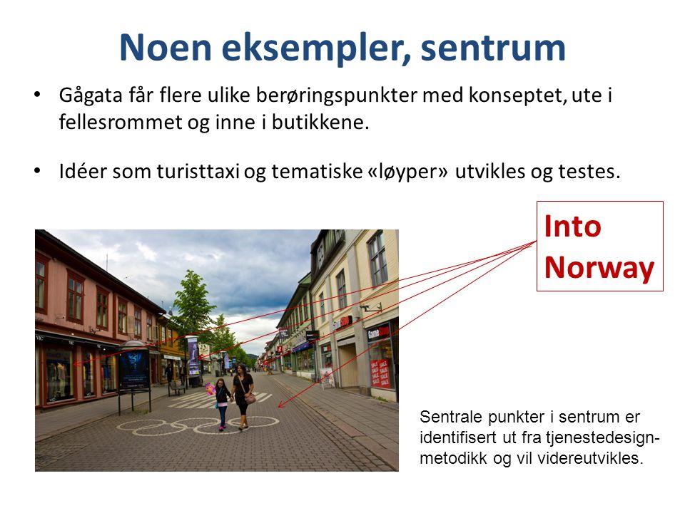 Noen eksempler, sentrum • Gågata får flere ulike berøringspunkter med konseptet, ute i fellesrommet og inne i butikkene. • Idéer som turisttaxi og tem