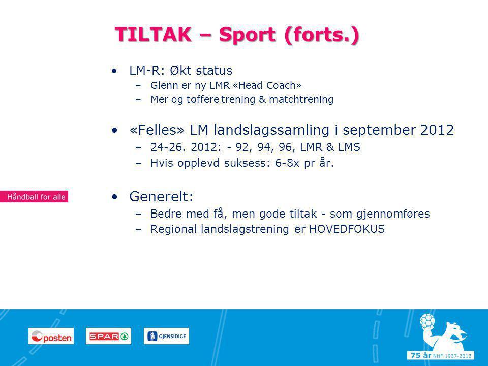 11 TILTAK – Sport (forts.) •LM-R: Økt status –Glenn er ny LMR «Head Coach» –Mer og tøffere trening & matchtrening •«Felles» LM landslagssamling i september 2012 –24-26.