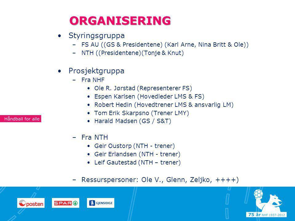 4 44 ORGANISERING •Styringsgruppa –FS AU ((GS & Presidentene) (Karl Arne, Nina Britt & Ole)) –NTH ((Presidentene)(Tonje & Knut) •Prosjektgruppa –Fra NHF •Ole R.