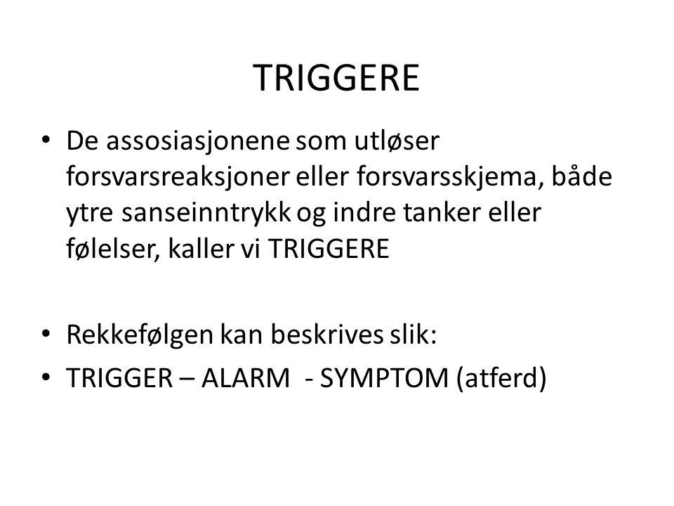TRIGGERE • De assosiasjonene som utløser forsvarsreaksjoner eller forsvarsskjema, både ytre sanseinntrykk og indre tanker eller følelser, kaller vi TR