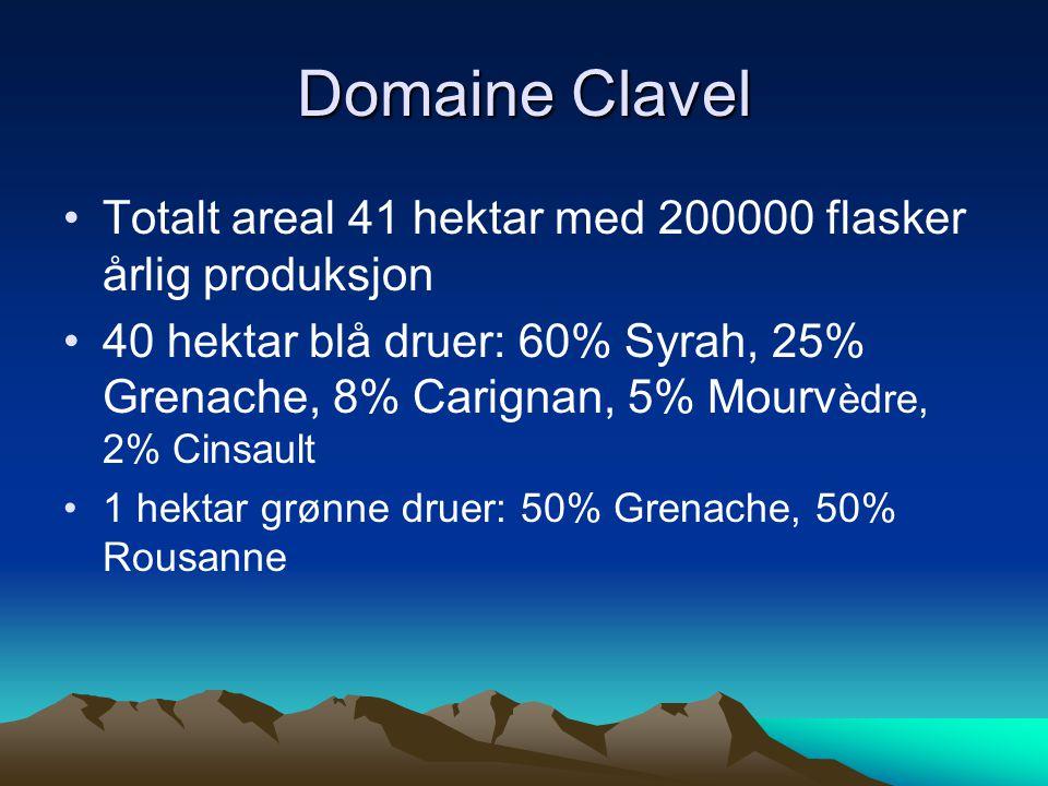 •Totalt areal 41 hektar med 200000 flasker årlig produksjon •40 hektar blå druer: 60% Syrah, 25% Grenache, 8% Carignan, 5% Mourv èdre, 2% Cinsault •1 hektar grønne druer: 50% Grenache, 50% Rousanne