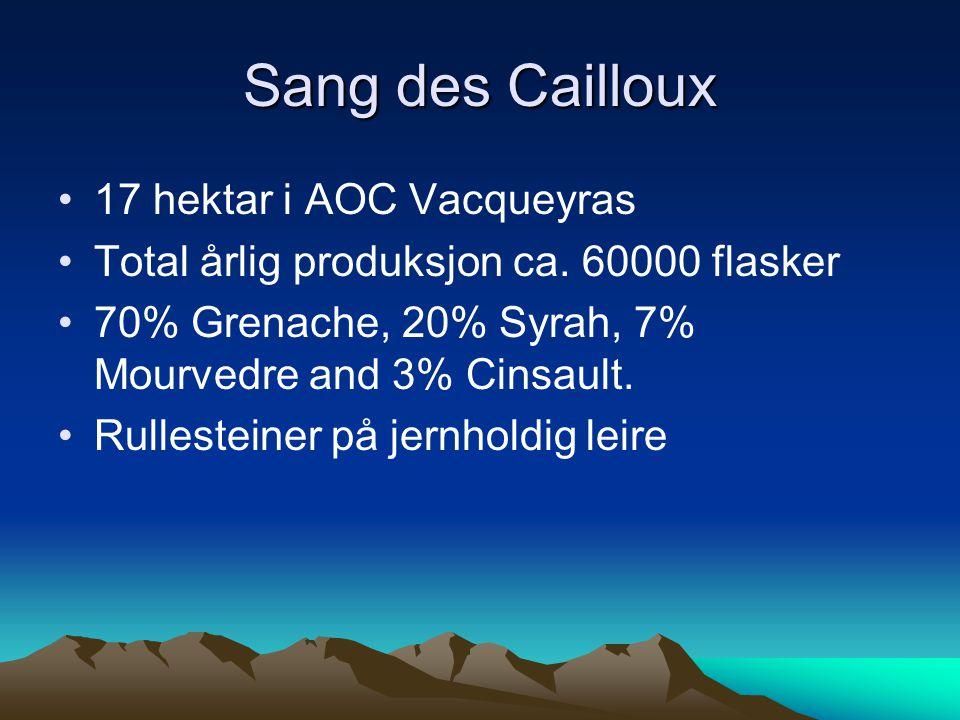 •17 hektar i AOC Vacqueyras •Total årlig produksjon ca.